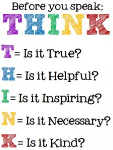 think before you speak, classroom, kind, back to school activities